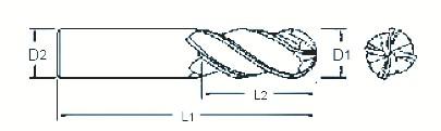 Fraise 4 dents carbure micro-grain hémisphérique queue cylindrique - revêtu